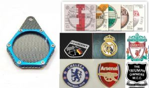 MOTORCYCLE Tax Disc Holder, Photo, Coat of Arms, Football Club, Moto Club Badge Holder. Carbon/Blue